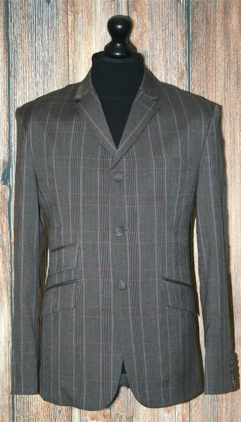 """Liam"" Dark Grey & Red Check 3 Button Suit"